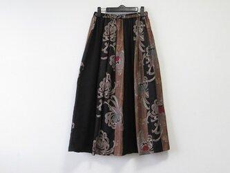 *アンティーク着物*菊模様銘仙紬のパッチスカート(裏地つき)の画像