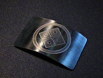 受注生産 家紋 彫金 バッチ ステンレス製の画像