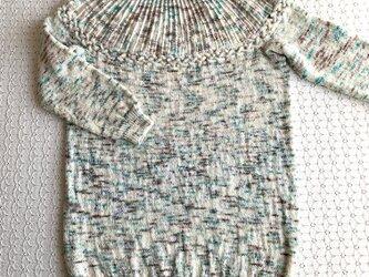 丸ヨークチュニック 手編みの画像