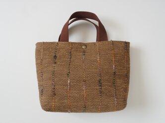 裂き織りのバッグSスクエア  キャメルの画像