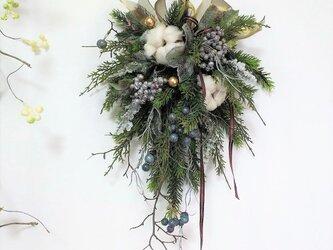 クリスマス スワッグ ブルーベリー & ラメ入りベリー アーティフィシャルフラワーの画像