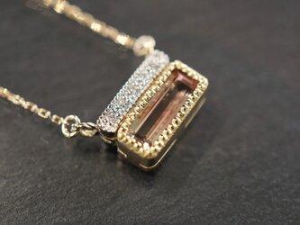 K18YG×PT950コンビ バイカラートルマリン × ダイヤモンド ぺンダントの画像