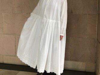 オフしろ 裾レースワンピース ペチコート付き 受注製作の画像