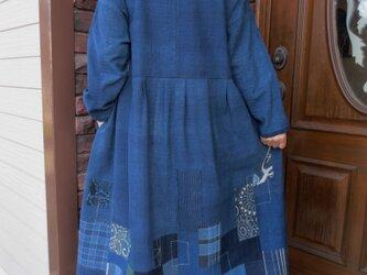 古布リメイク  藍染パッチワンピース 襤褸 型染 刺し子 古布 ゆったりサイズの画像
