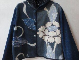 古布リメイク 藍染リバーシブルミニフードジャケット 筒描き 型染 襤褸 刺し子 古布 着物リメイクの画像