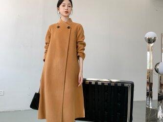【全14色】 【ウール100%】 リバーシブル生地 手縫い ロングコート☆オーダーメイド可の画像