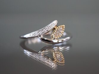 【受注製作】PT950×K18YGコンビ マーキスダイヤモンド つぼみリングの画像