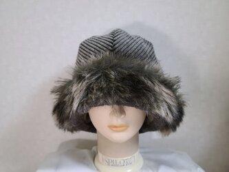 魅せる帽子☆ラスト1点!!ふんわり♪フェイクファーとコーデュロイのクロッシュ~モスグリーンの画像