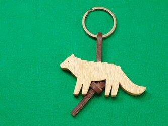 ニホンオオカミ / 狼 木のキーリングの画像