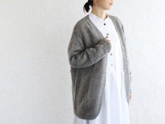 ふわふわ手編みモヘア風ニット 羽織りカーディガン (グレー)の画像