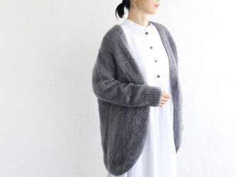 ふわふわ手編みモヘアニット 羽織りカーディガン (パープルグレー)の画像