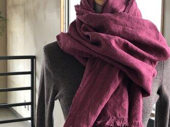 [ 冬支度SALE]ベルギーリネン手染め起毛リネン ストールハーフサイズ W53の画像