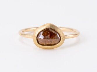 Red Marron Diamond Ripple Ringの画像