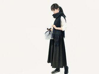 発熱生地であたたかく 楽なのにきちんと見える ロングスカート ブラック シワになりにくい ●FLAVIE-BLACK●の画像