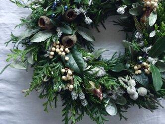 受注製作:グリーンベースのクリスマスリース 11月中旬〜11月末に発送の画像