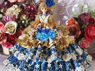 美しきルノワールのアンティークゴールド 気品と風格 蒼き輝きのバブリングドールドレスの画像