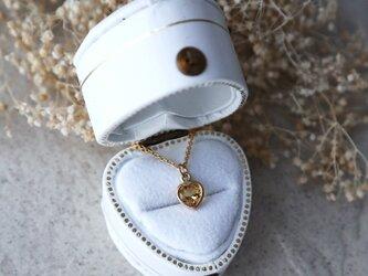 【14kgf】宝石質シトリン一粒ネックレス(ハートファセットカット)*11月誕生石の画像