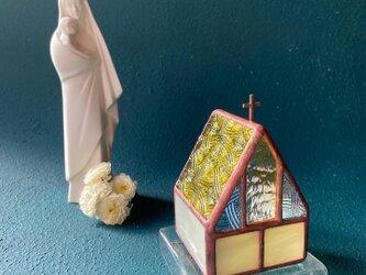 Kogane church]   ミニ教会•Led専用キャンドルホルダー•ステンドグラスの画像