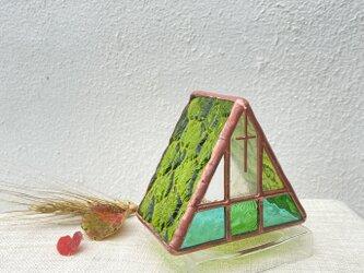 『高原教会 晩夏』  キャンドルホルダー ステンドグラスの画像