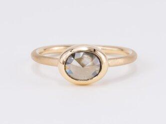 Grey Moon Oval Diamond Ripple Ringの画像