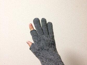 メンズスマホ対応手袋メリノウール100%グレーの画像
