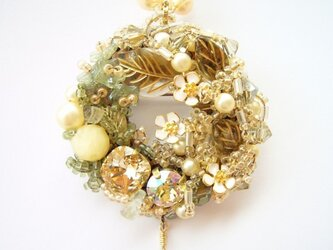 お花のリースブローチネックレス(no-440)の画像