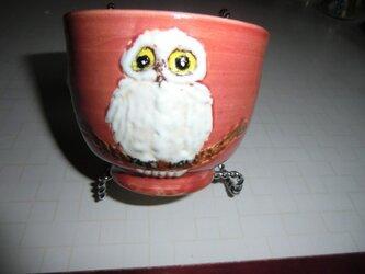 白フクロウの自在碗の画像