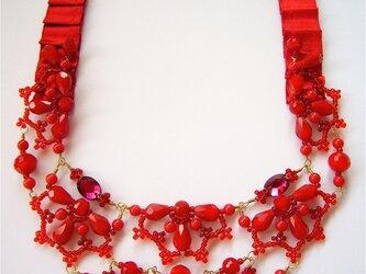 深紅のリボンネックレス(no-322)の画像
