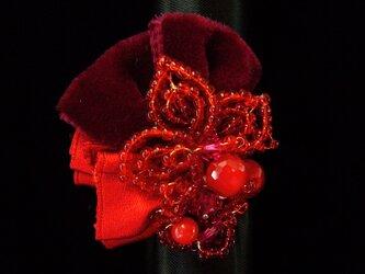深紅のリボンリング(no-323)の画像