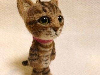 羊毛フェルト トラ猫マスコット【Iさまご予約品】の画像