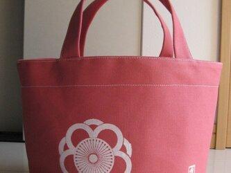 家紋模様の帆布のトート ピンクの画像