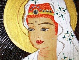 開運 癒彩 観世音   色の三十八     白絹に緑衣観音の画像