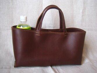 【受注生産】イタリア製牛革のしっかり横長トートバッグ(チョコ色/M)の画像