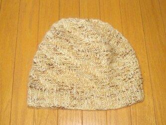 ななめ編みの純毛ニット帽の画像
