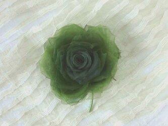 深いグリーンの巻き薔薇 * シルクオーガンジー製 *コサージュの画像