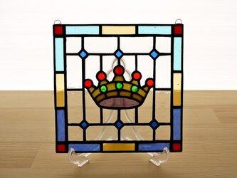 ステンドグラス ミニパネル クラウン 15cmの画像