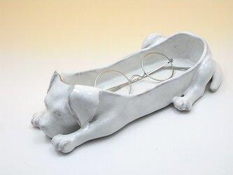 *T様ご予約品*イヌのメガネトレー・JUNグレーズ・ホワイトの画像