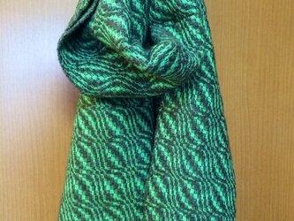 [手紡ぎ 手織り]ピスタチオナッツのマフラーの画像