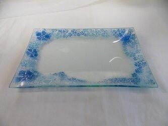 長角皿(お花ふわりブルー)の画像