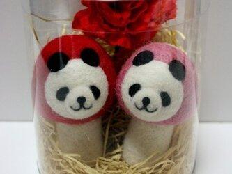 【母の日仕様♪】羊毛キノコパンダマスコットセット(赤&ピンク)の画像