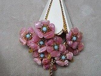 天然石 花(花傘)シリーズ ブローチの画像