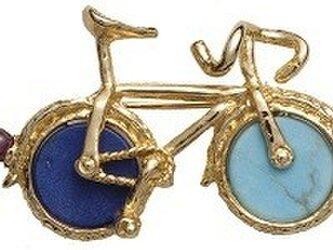 天然石 自転車(小) ブローチの画像