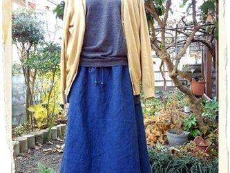 自然染め リネン藍染ドレ-プスカ-トの画像