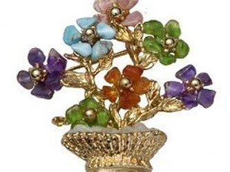 天然石 花シリーズ(花鉢) ブローチの画像