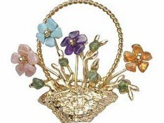 天然石 花シリーズ(花かご)ブローチの画像