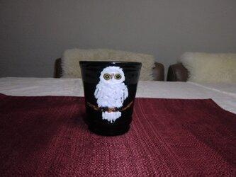 白ふくろうのフリーカップの画像