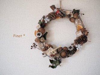 森の贈り物*麻とクルミのドアリースの画像