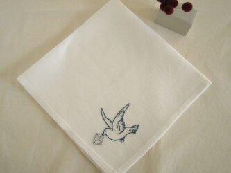 小鳥のリネンハンカチ(White+Blue)の画像