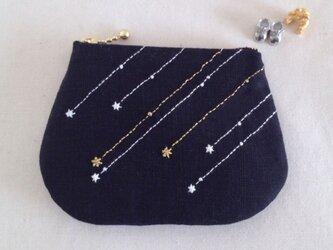 流れ星のファスナーポーチ・S (Black)の画像