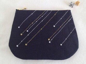 流れ星のファスナーポーチ・L (Black)の画像